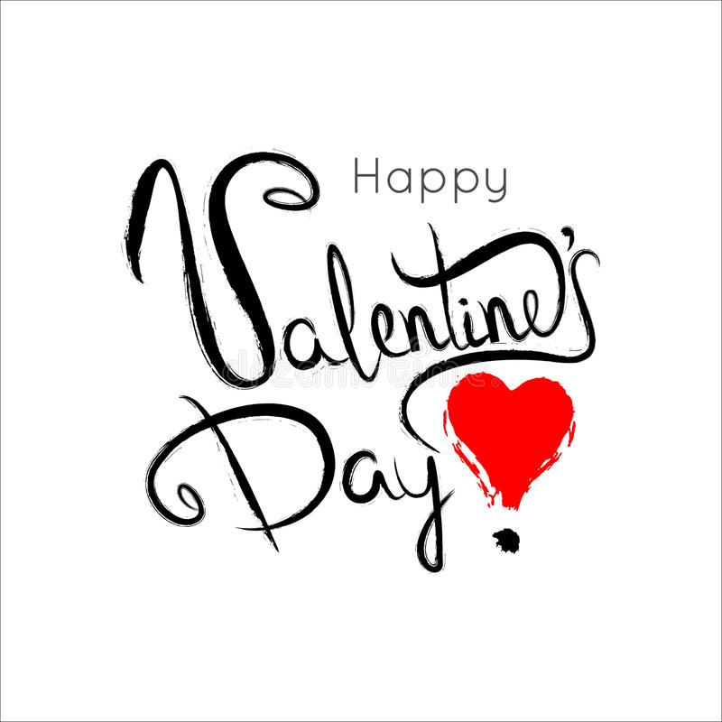 Happy Valentines Day Lettering Card. Typography poster with hand stock illustration