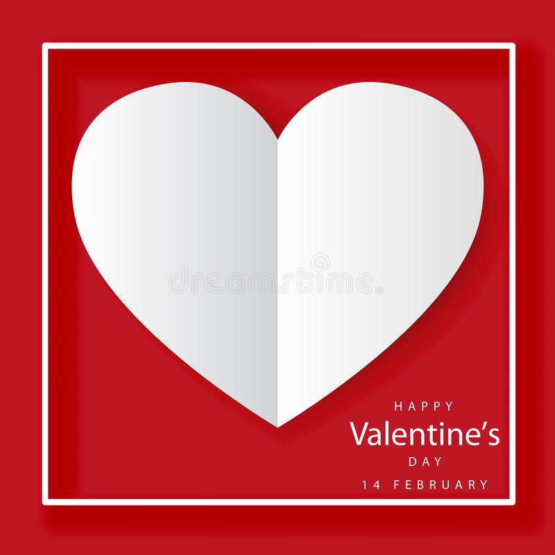 Happy Valentines Day Lettering with cut paper hearts on Red background royalty free illustration