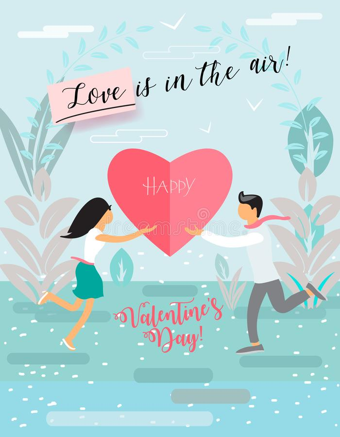 Love is in the air lettering happy valentine`s day love concept poster stock illustration