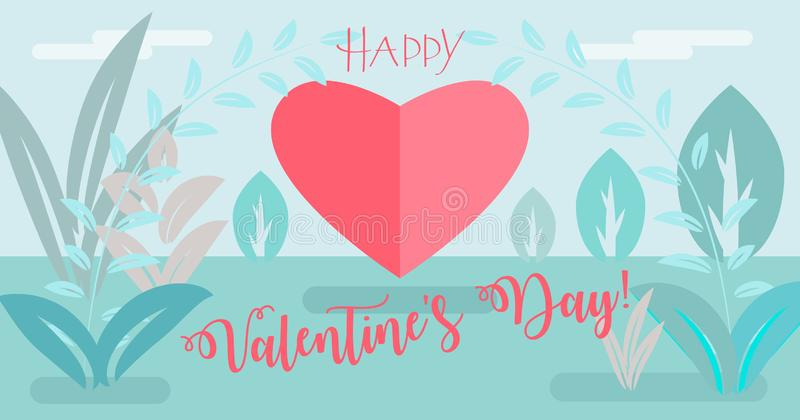 Happy Valentines Day Lettering on floral background with two people, woman and man, flowers and heart shape logo, paper art royalty free illustration