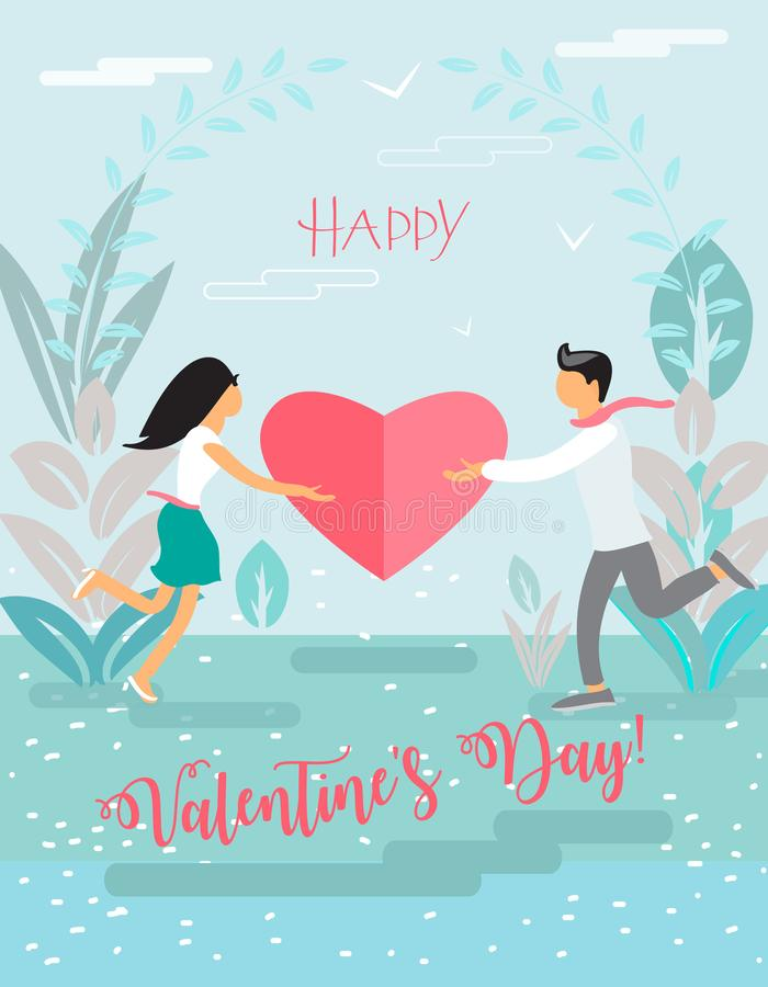Happy Valentines Day Lettering on floral background with two people, woman and man, flowers and heart shape logo, love concept stock illustration