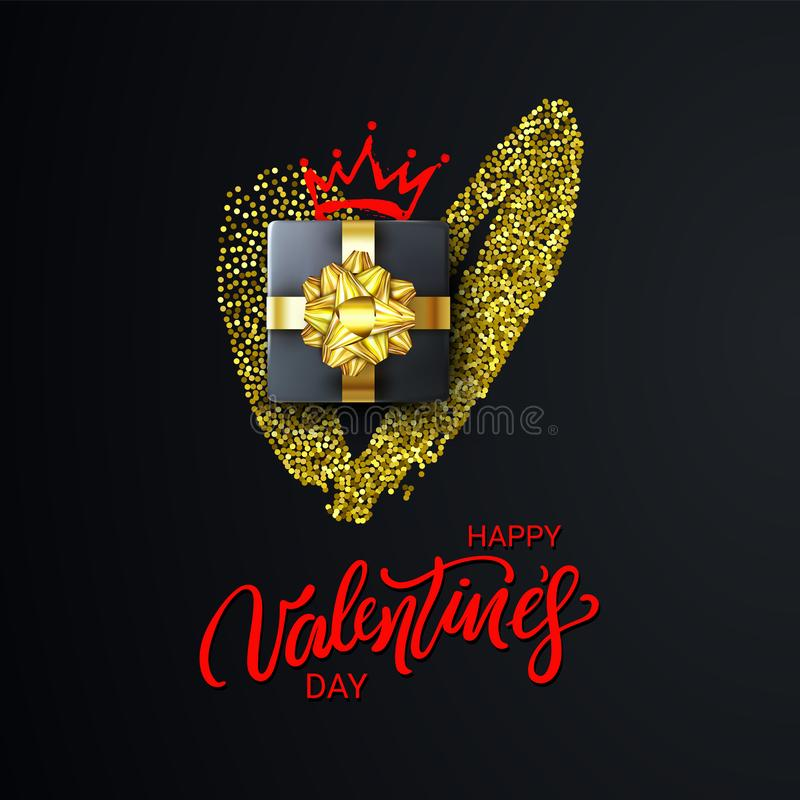 Happy Valentines Day Lettering with Glitter Heart, Gift Box and Crown. Holidays banner, poster, add, header, website. Happy Valentines Day Lettering with Gold royalty free illustration