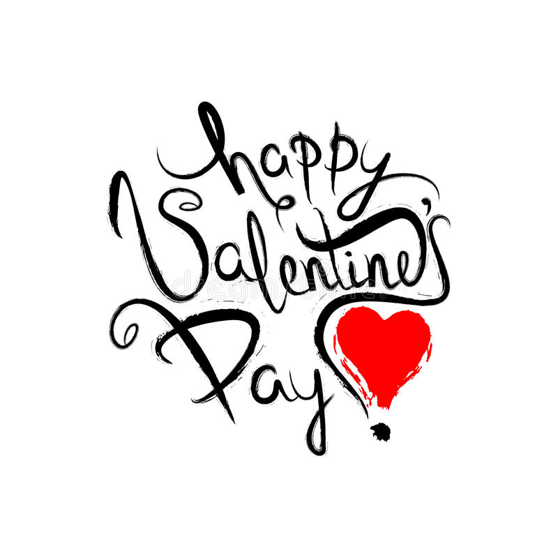 Happy Valentines Day Lettering Greeting Card. Typography poster vector illustration