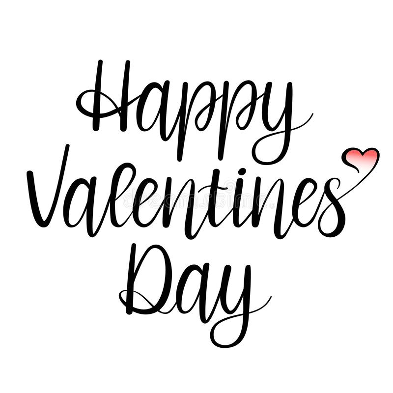 Happy Valentines Day lettering isolated on white background with pink gradient heart. Valentine`s Day Card. Vector illustration. Happy Valentines Day lettering vector illustration