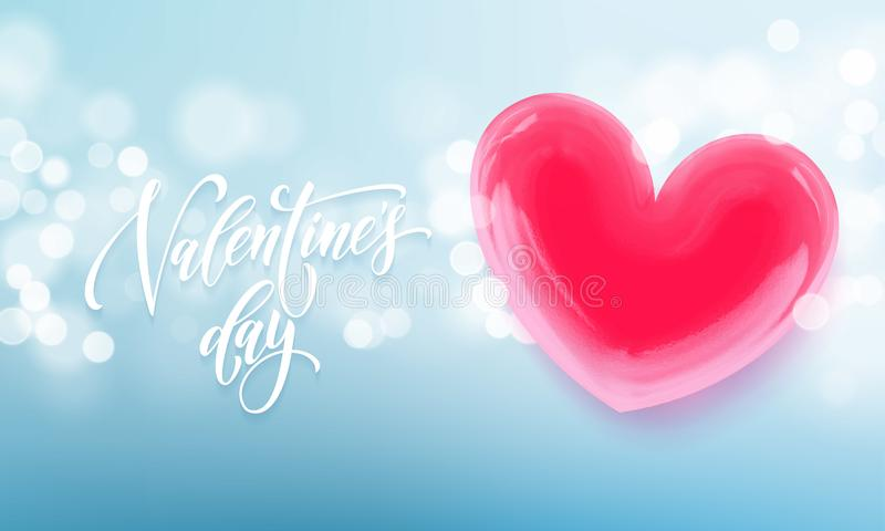 Happy Valentines day lettering text and valentine red crystal heart for greeting card background. Vector Valentines day greeting c. Ard design template of blue vector illustration