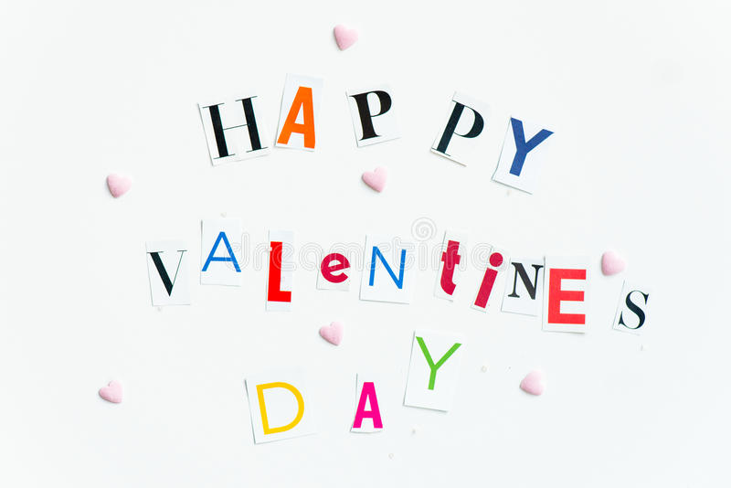 Happy Valentines Day Letters cut out from the Magazines royalty free stock image