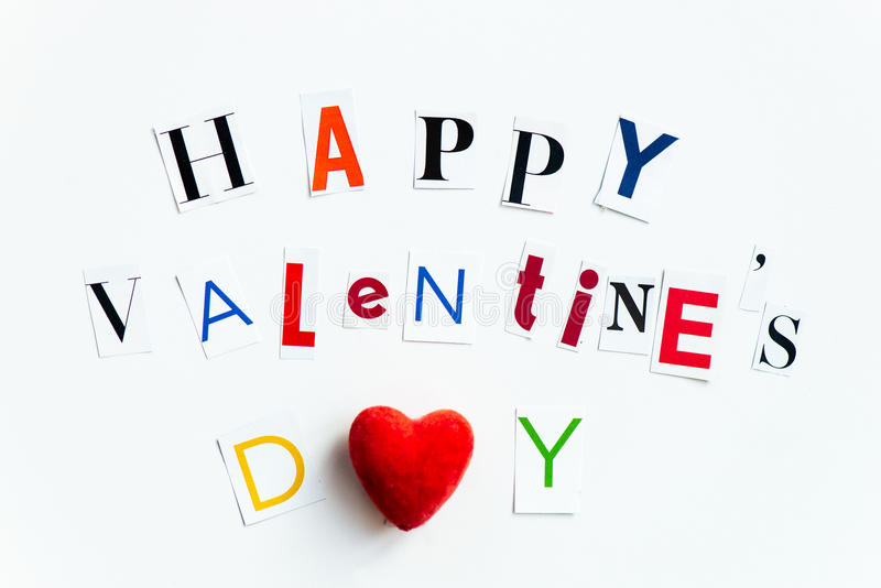 Happy Valentines Day Letters cut out from the Magazines royalty free stock images