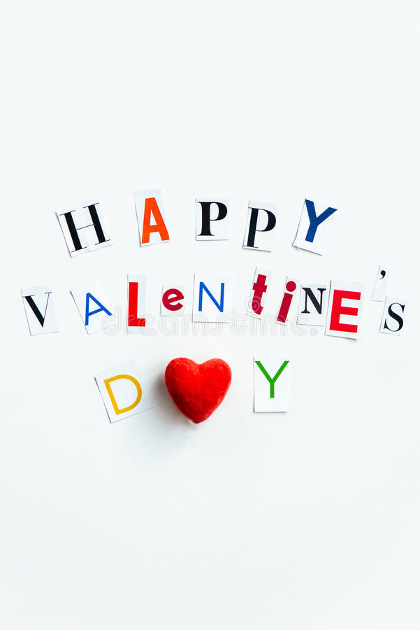Happy Valentines Day Letters cut out from the Magazines stock photo