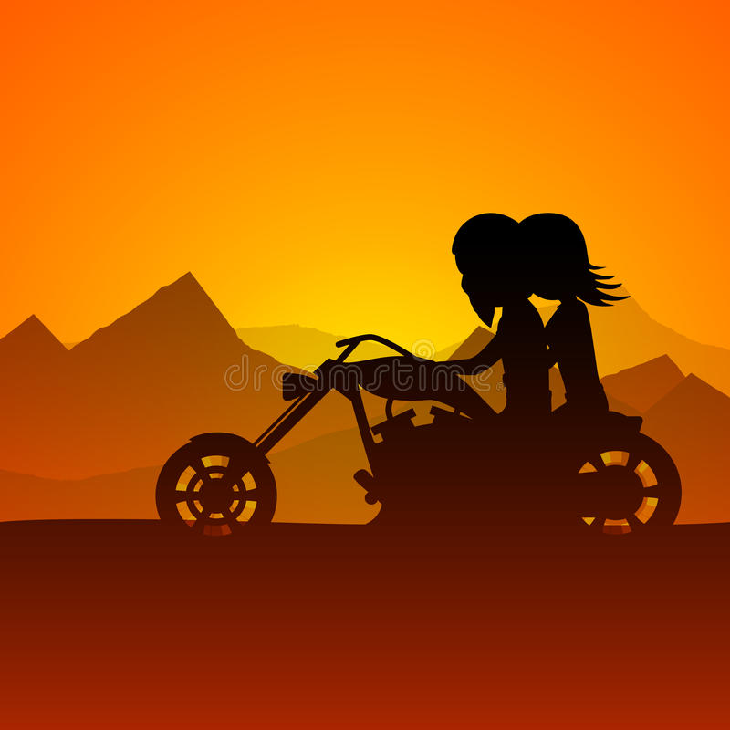 Happy Valentines Day love background with young couples riding o