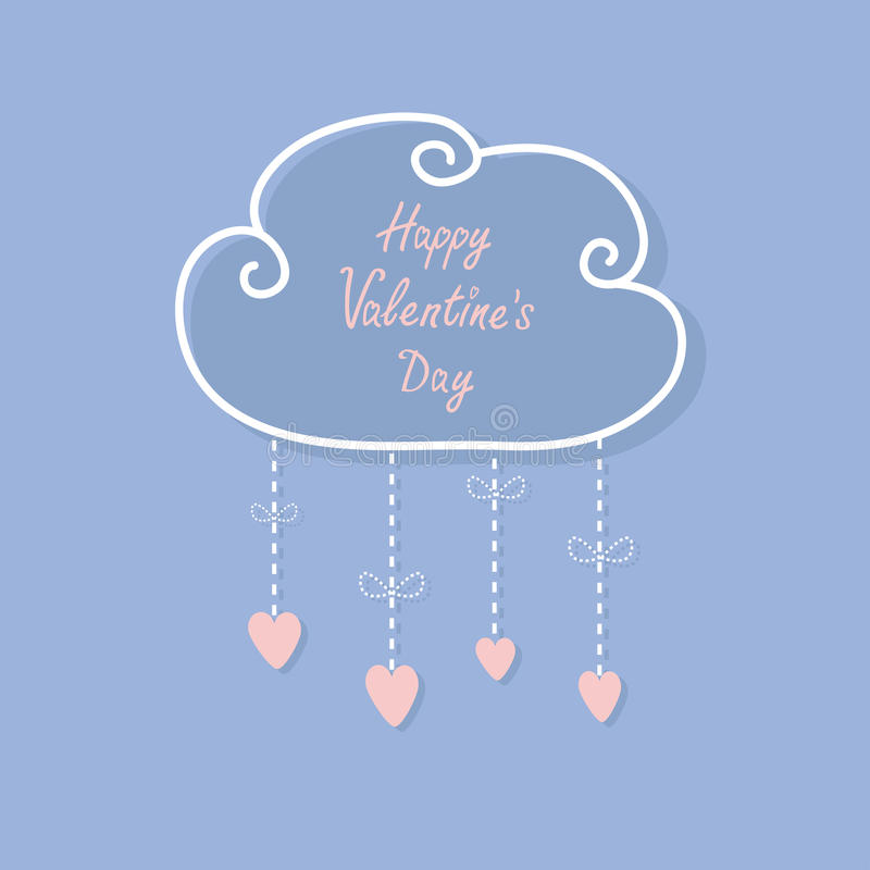 Happy Valentines Day. Love card. Cloud with hanging rain button drops, bow. Heart shape. Dash line Flat design Rose quartz serenit. Y color background. Vector stock illustration