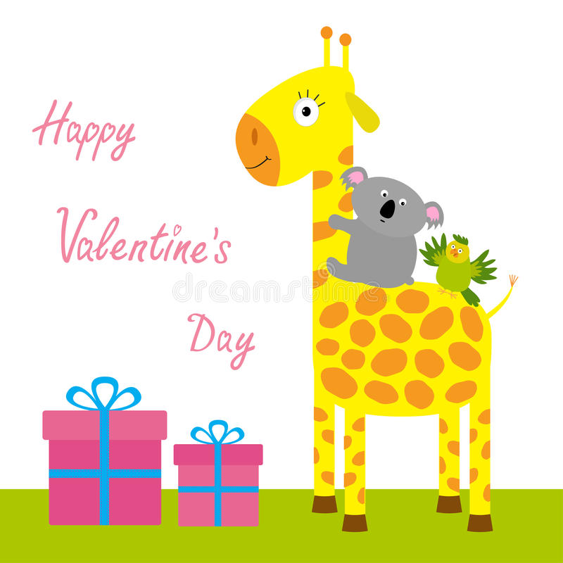 Happy Valentines Day. Love card. Cute giraffe, koala and parrot. Giftbox set Baby background Flat design royalty free illustration