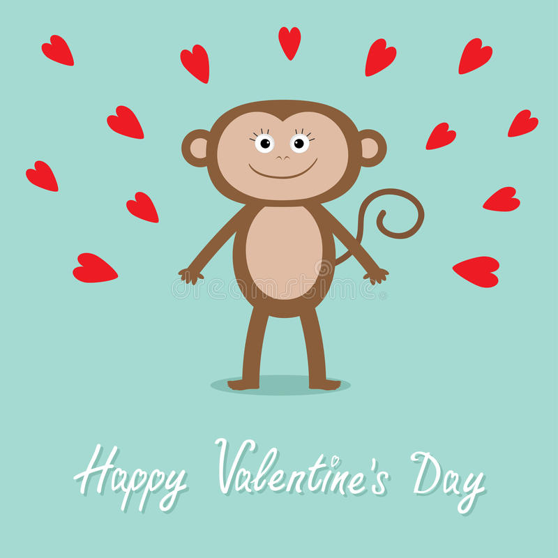 Download Happy Valentines Day. Love Card. Cute Monkey, Red Hearts. Baby  Illustration