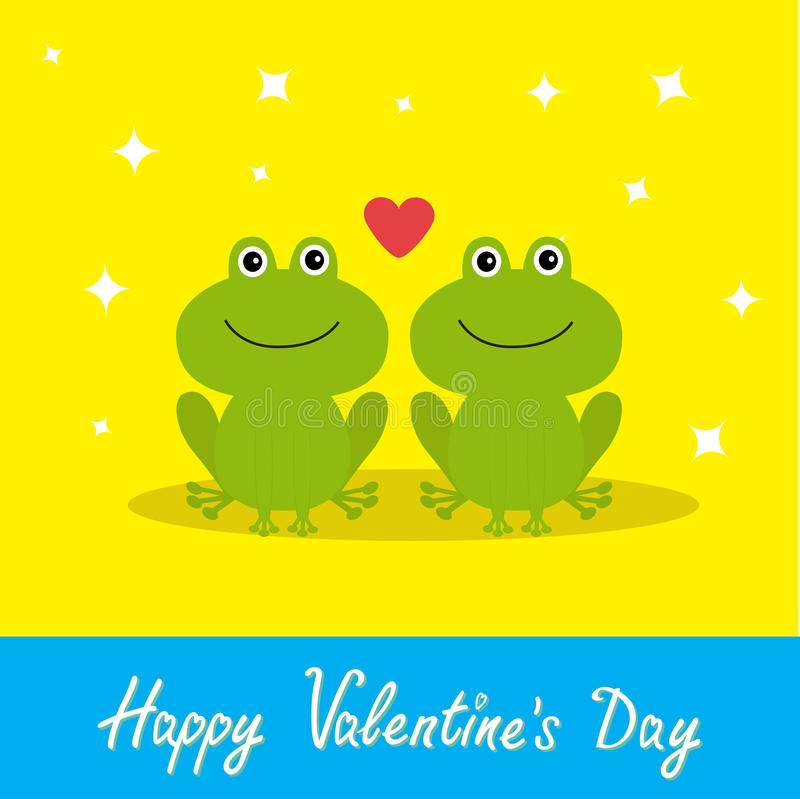 Free Happy Valentines Day. Love Card. Two Cute Frogs. Red Heart. Baby Background Flat Design Sparkles Stock Photo - 65344430