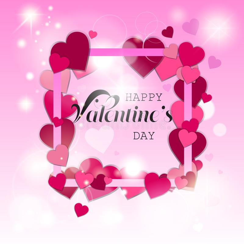 Happy valentines day love holiday concept decoration poster greeting card heart shapes pink background flat royalty free illustration
