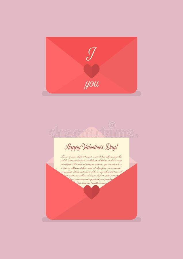 Happy Valentines day love letter vector illustration