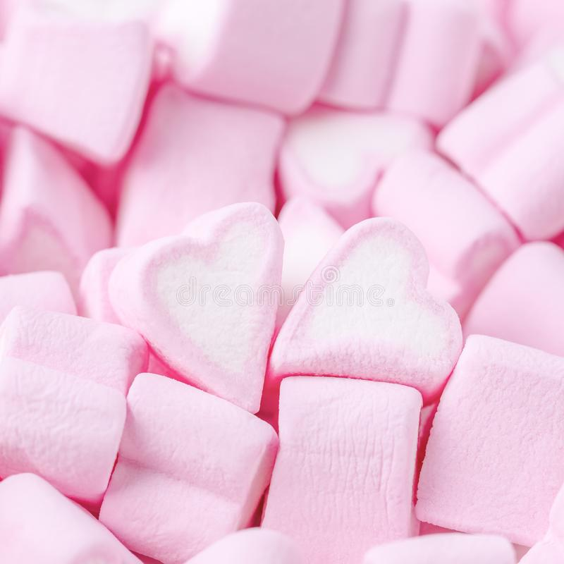 Happy Valentines day. Love theme. Pink sweet marshmallow hearts. Valentine`s day background stock photography