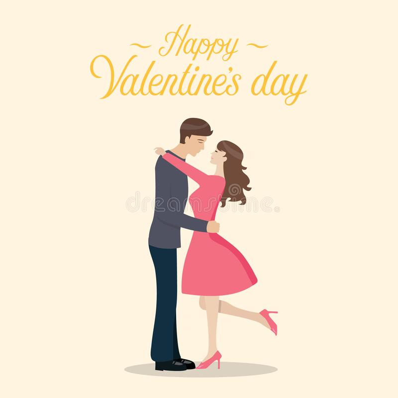 Happy valentines day with Loving couple. Are kissing. Vector illustration vector illustration