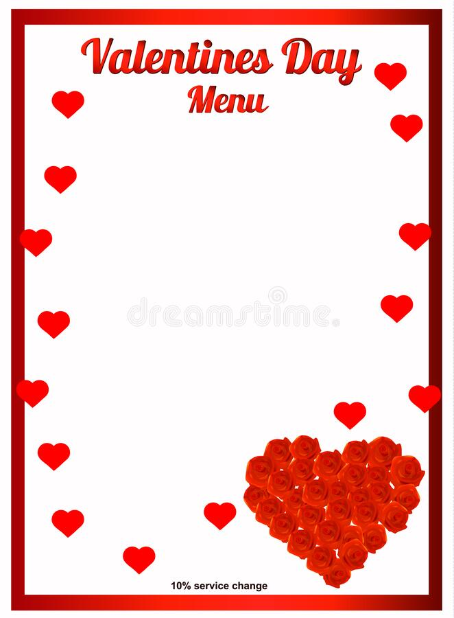 Happy Valentines day menu background. Valentines day backdrop with rose. Illustration. Happy Valentines day menu background. Valentines day backdrop with rose stock illustration