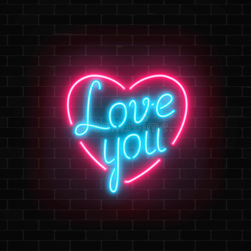 Happy Valentines Day neon glowing festive sign on a dark brick wall background. Love you yexy in heart shape. Holiday greeting card with lettering. Vector royalty free illustration