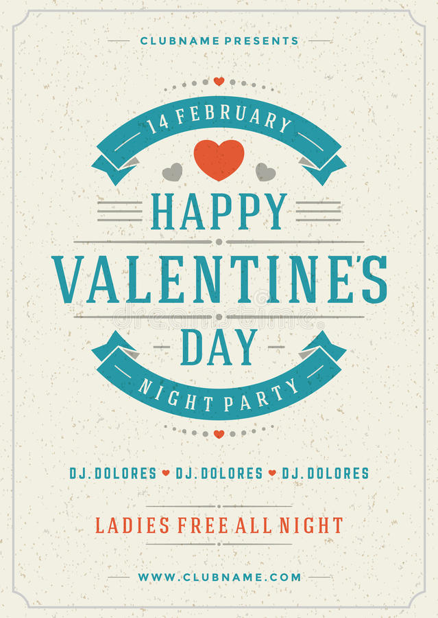Happy Valentines Day Party Poster Design Template Stock Illustration