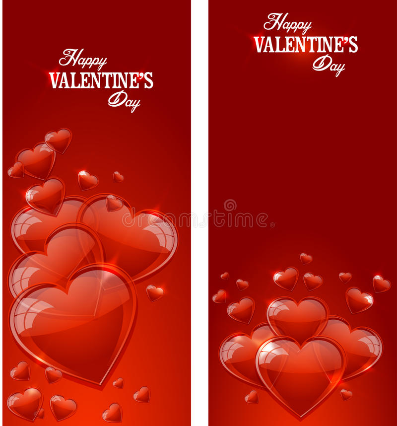 Happy Valentines day. Postcard with glossy hearts stock illustration