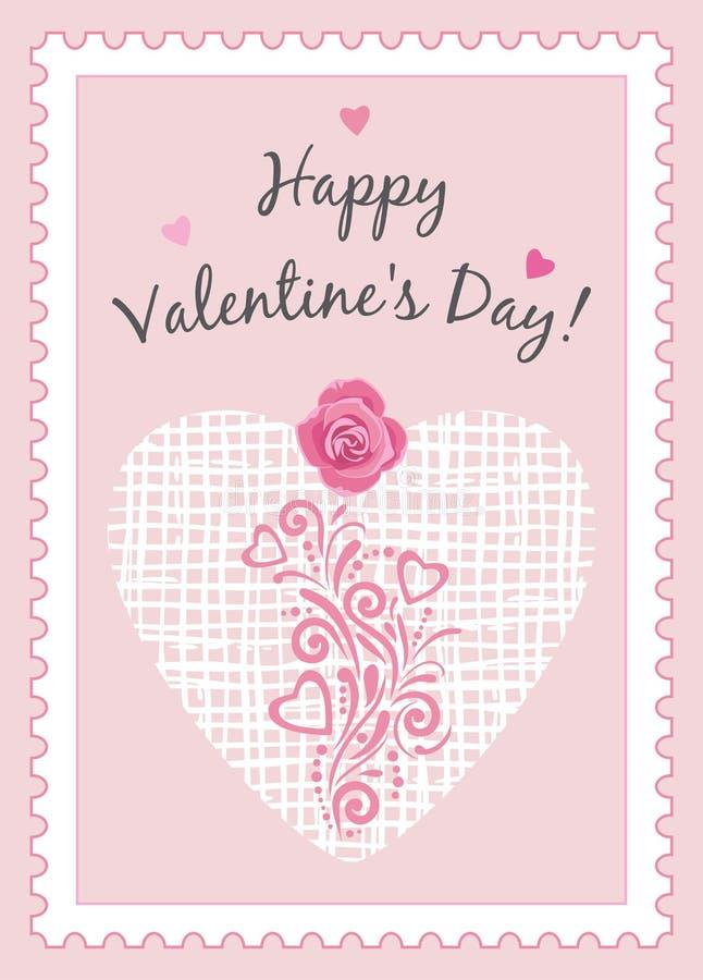 Happy Valentines Day. Postcard stock photos