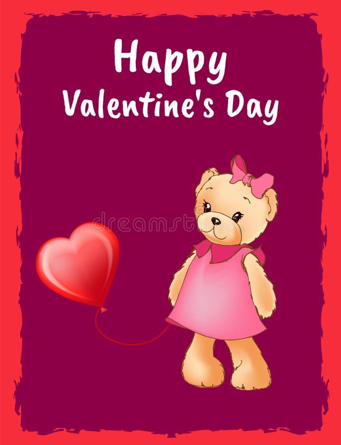 Happy Valentines Day Postcard with Bear in Dress stock illustration