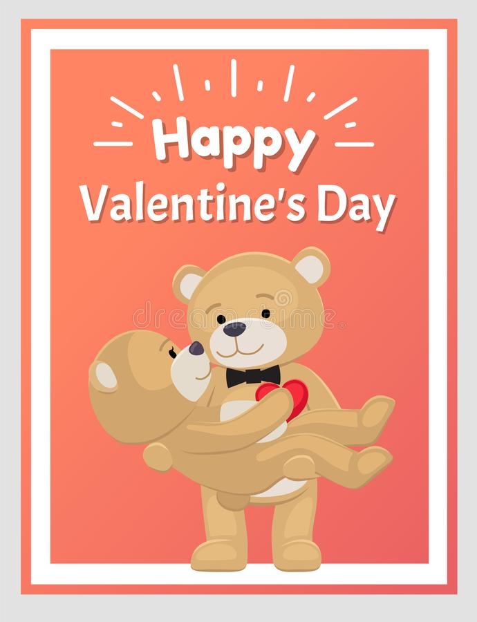 Download Happy Valentines Day Poster Teddy Bear Couple Blue Stock Vector