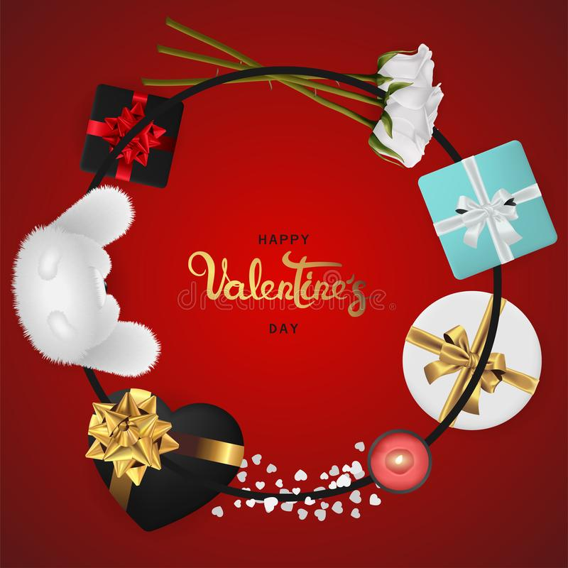 Happy valentines day realistic banner flat lay top view. Happy valentines day banner. Background design of lighting candle,realistic roses with gifts box, ribbon royalty free illustration