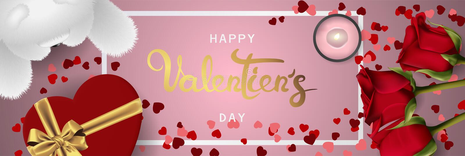 Happy valentines day realistic horizontal banner flat lay top view royalty free illustration