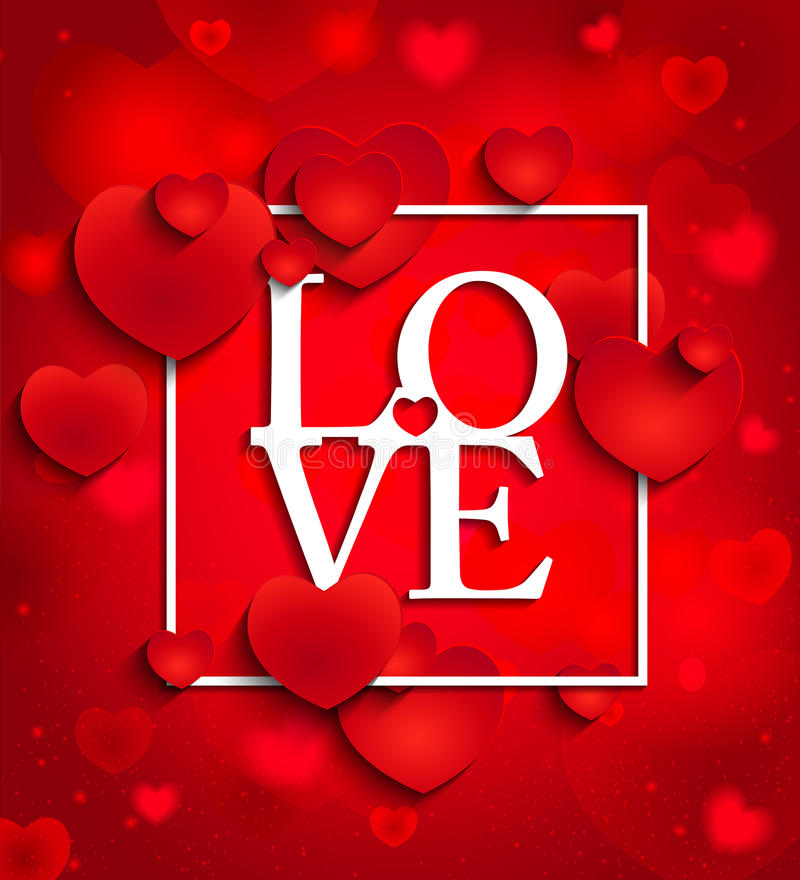 Happy valentines day on red background with hearts vector illustration