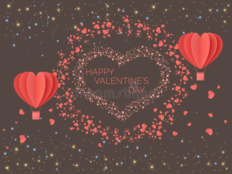 Happy valentines day. Red coral colored hearts in the form of balloons against the background of lights of multicolored particles. stock illustration