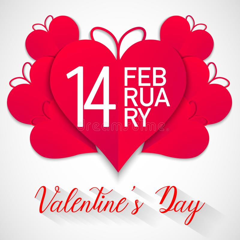 Happy valentines day, red hearts with white background, vector royalty free illustration