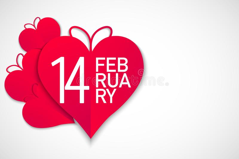 Happy valentines day, red hearts with white background, vector stock illustration