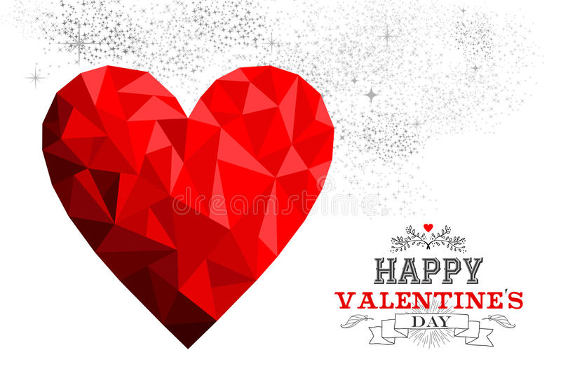 Happy valentines day red low poly heart love card stock illustration