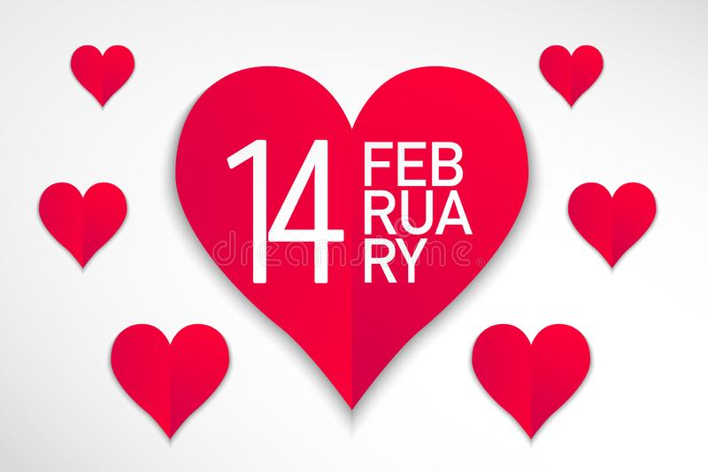 Happy valentines day red hearts with white background, vector vector illustration