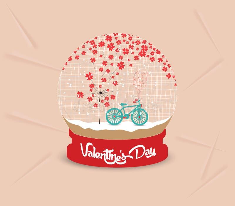 Happy valentines day with romantic dandelion heart globe stock illustration