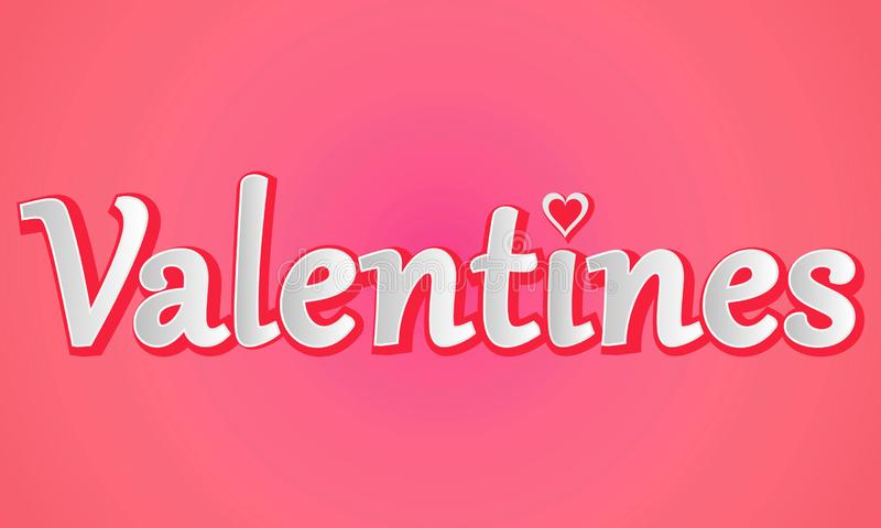 Happy Valentines Day romantic greeting card, typography poster stock illustration