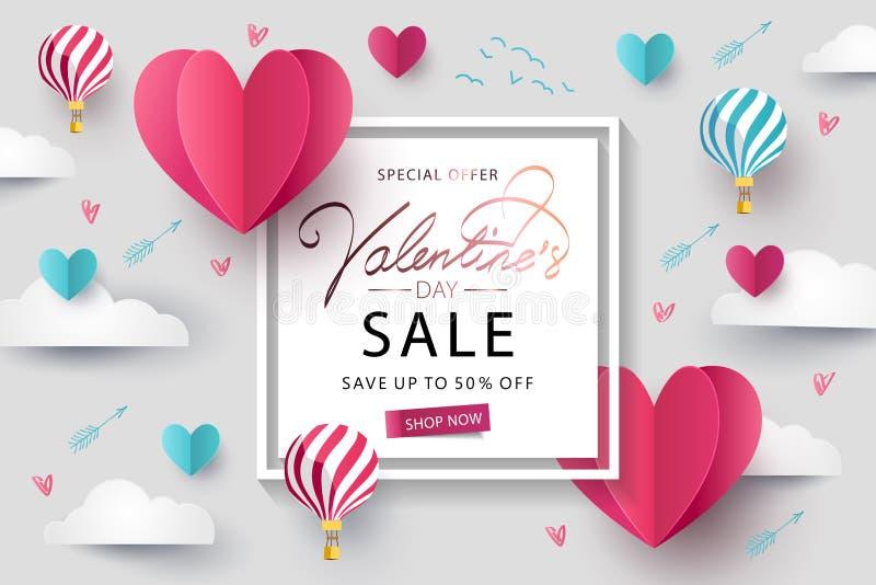 Happy Valentines Day Sale background, banner, poster or flyer design stock illustration
