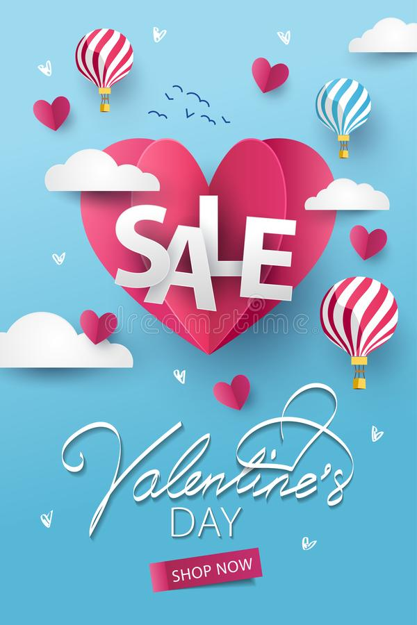 Happy Valentines Day Sale background. Banner, poster or flyer design with flying Origami Hearts over clouds with air balloons in stock illustration