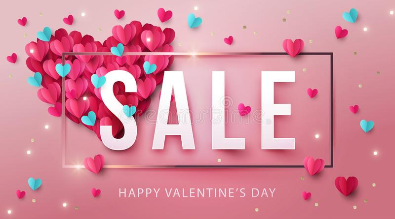 Happy Valentines Day Sale Banner, poster or flyer design with big heart made of pink and blue origami hearts vector illustration