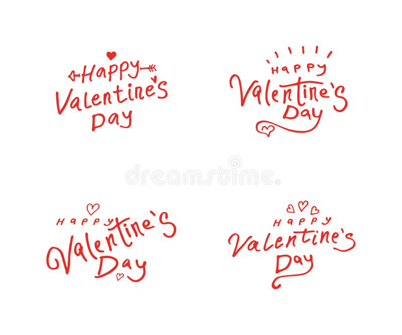 Happy Valentines Day. Set of four Valentines Day red greeting logos with inscription with cupid`s arrow and hearts vector illustration