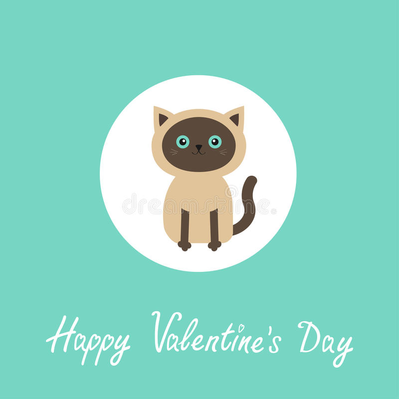 Happy Valentines day. Siamese cat round circle icon in flat design style. Cute cartoon character. Happy sitting kitten with blue vector illustration