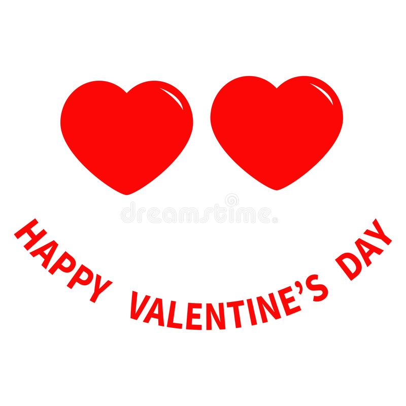 Happy Valentines Day Sign Symbol Two Red Heart Eyes Face Funny Head
