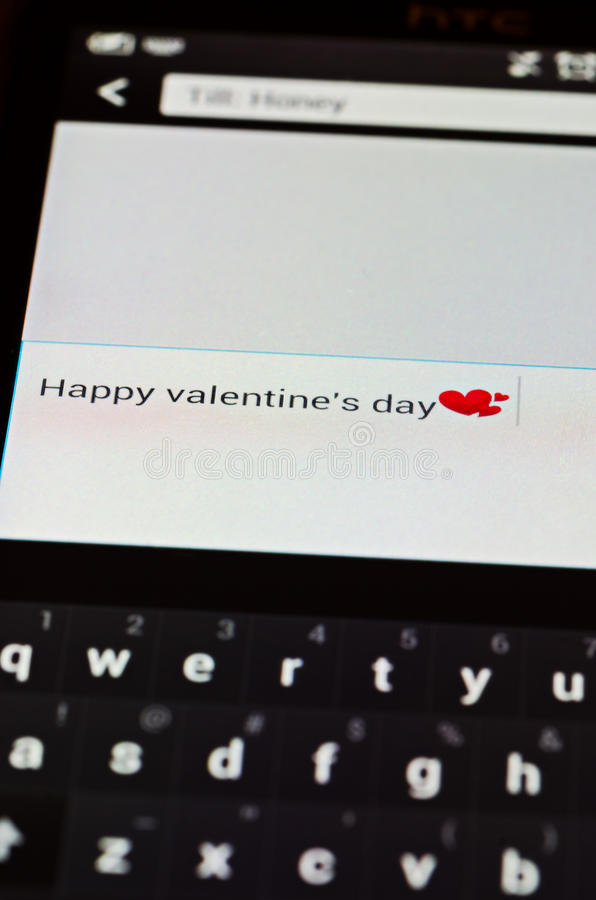 Happy valentines day sms stock photo