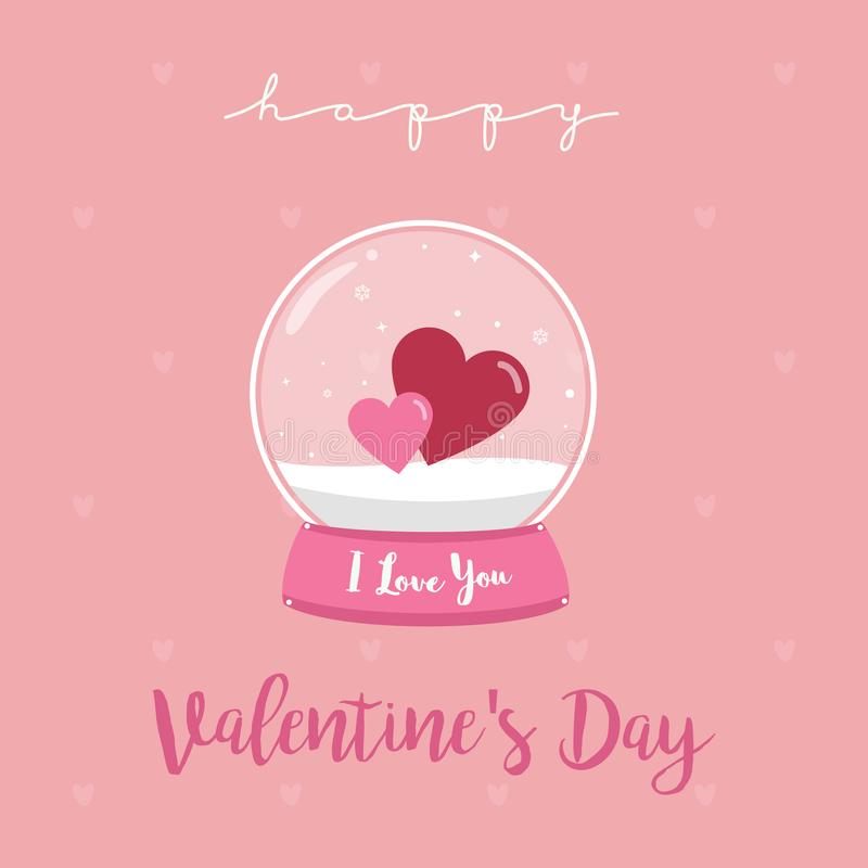 Happy Valentines Day Snow globe with Valentine hearts Vector Illustration for Wedding and Valentine`s Invitation card.  royalty free illustration