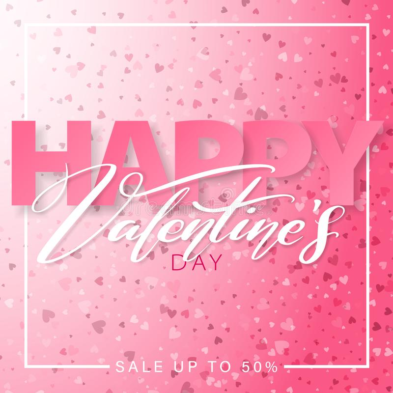 Happy Valentines Day square banner design. 14 February. Pink color romantic template with small hearts. stock illustration
