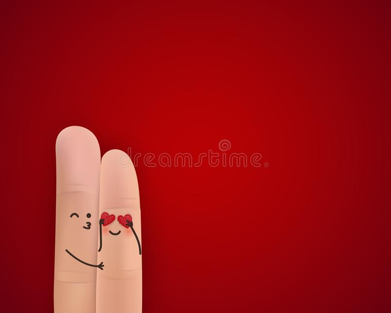 Happy valentines day. St.Valentine`s Day concept with finger art happy couple hugging on bright red background. A happy vector illustration