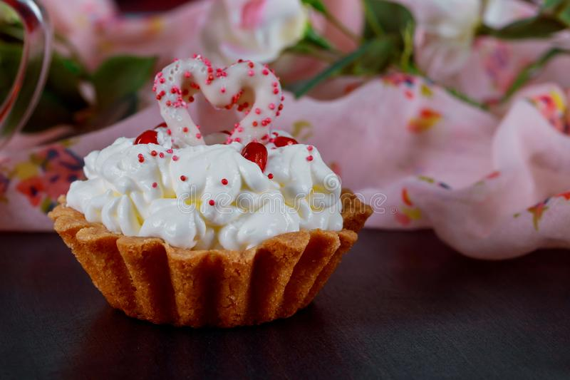 Happy Valentines Day sweet cupcakes a stylish, fun and cheerful Valentines Day stock photo
