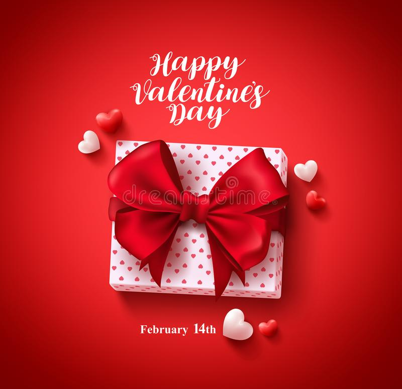 Happy valentines day text greeting card vector banner design with love gift vector illustration